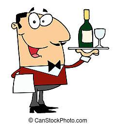 servindo, macho, vinho, caucasiano, mordomo