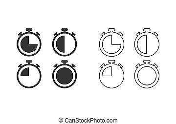 set., ícones, linha, vetorial, cronômetros, ilustração