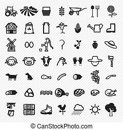 set., agricultura, ilustração, ícones