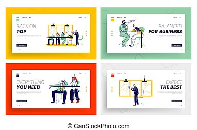 set., companhia, escrivaninha, enfadonho, explicar, pessoas, página, aborrecido, aterragem, presentation., linear, ilustração, homem negócios, estratégia, modelo, escritório., businesspeople, reunião, dormir, vetorial, caráteres, empregados