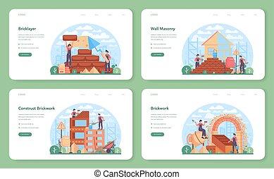 set., construtor, aterragem, profissional, bandeira, ou, página, teia, pedreiro, construir