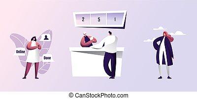 set., crédito, ilustração, conta, negócio, macho, usando, banco, homem, pagar, deal., levantar, escrivaninha, caráteres, business., tomar, ou, fazer, vetorial, contador, online, mulher, apartamento, smartphone, caricatura, femininas