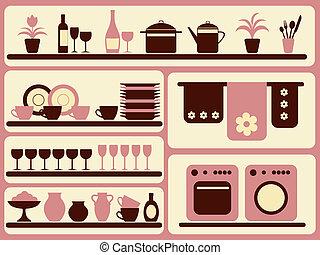 set., objetos, cozinha, lar, mercadoria