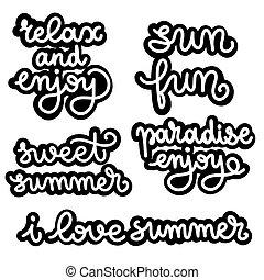 set., pretas, lettering, branca, verão