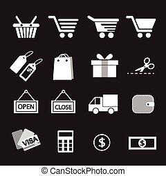 set., shopping, ícone