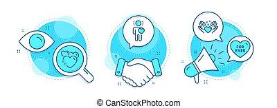 set., sinal., ícones, já, amigo, amor, amor, coração, ter, vetorial, amizade, sweetheart.