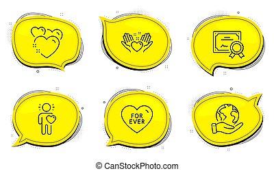 set., sinal., amor, coração, ícones, sweetheart., amor, amizade, já, vetorial, ter, amigo