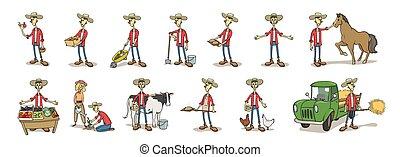 set., vetorial, personagem, illustration., chapéu, agricultor, engraçado, caricatura, isolado, jovem