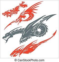 set., vetorial, tattoo., dragões