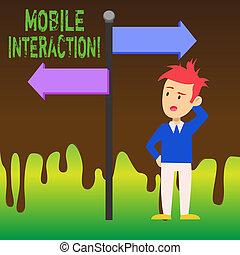 seta, conceito, palavra, direction., apontar, oposta, móvel, texto, computadores, confundido, sinal, interação negócio, homem, entre, interaction., escrita, lado, estrada, usuários