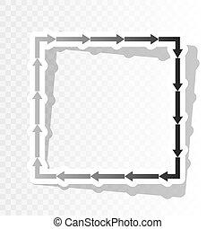 seta, quadrado, vector., transition., ano, forma., fundo, blackish, novo, transparente, ícone