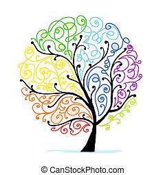 seu, arte, árvore, desenho