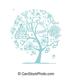 seu, casório, árvore, desenho, conceito