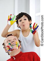 seu, cores, mãe, sujo, tocando, criança