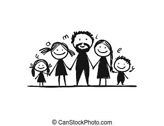 seu, família, feliz, junto, esboço, desenho