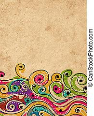 seu, grunge, padrão, abstratos, mão, fundo, desenhado, onda, desenho