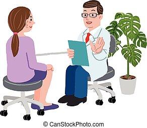 seu, paciente, femininas, escritório, doutor