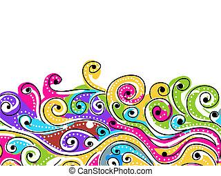 seu, padrão, abstratos, onda, fundo, desenhado, mão, desenho