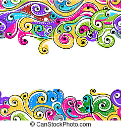 seu, padrão, abstratos, seamless, mão, fundo, desenhado, onda, desenho
