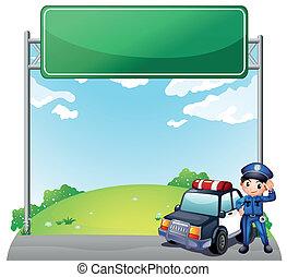 seu, polícia, policial, car, jovem, signage, vazio