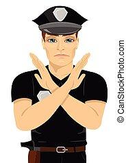 seu, policial, jovem, sinal, forma, sério, braços, mãos, x, fazer