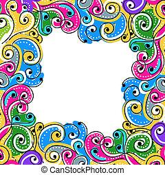 seu, quadro, onda, fundo, desenhado, mão, desenho, abstratos