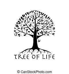 seu, raizes, árvore, desenho