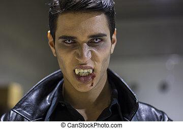 seu, vampiro, jovem, boca, sangue, rosto, homem
