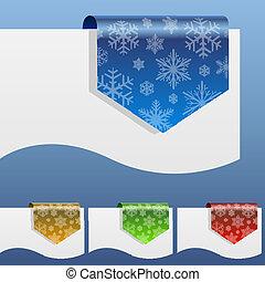 shapes., dobrado, inverno, etiquetas, papel, desconto, borda, em branco, snowflake, ao redor