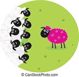 sheep, cor-de-rosa, branca