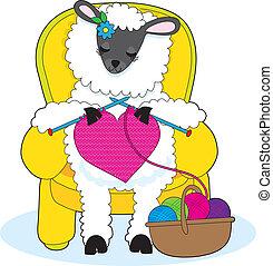 sheep, coração, tricotando