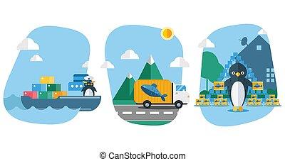 ship., peixe, caminhão, marisco, recipientes, transporte, illustration., pingüins, pássaro, vetorial, entrega, carrega, animal, bens