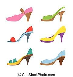 shoes., calcanhares altos, jogo, coloridos