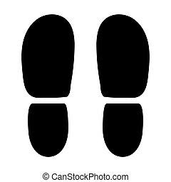 shoes., calcanhares, pretas, rastros