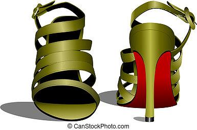 shoes., vetorial, mulher, moda, ilustração