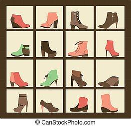 shop., sapatos, cobrança, prateleiras