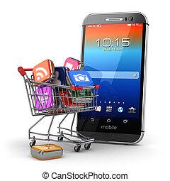 shopping, ícones, móvel, concept., apps, carreta, aplicação, software
