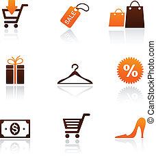 shopping, cobrança, ícones