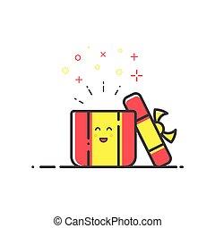 shopping, conceito, ilustração, vetorial, surpresa, linha, style., ícone