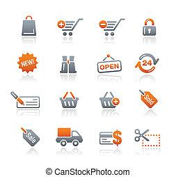 shopping correia fotorreceptora, grafita, /, ícones