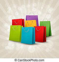 shopping, illustration., coloridos, concept., desconto, vetorial, fundo, bags.