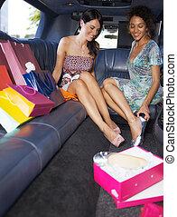 shopping, limusine, mulheres