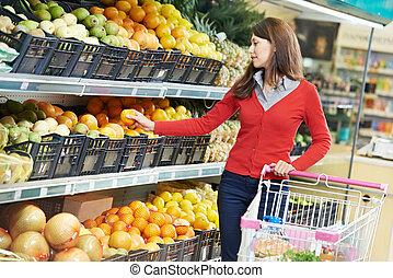 shopping mulher, frutas
