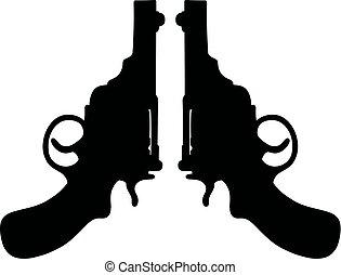 shortinho, antigas, dois, revólveres