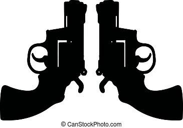 shortinho, dois, revólveres
