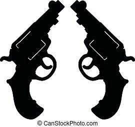 shortinho, pretas, dois, revólveres