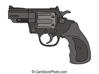 shortinho, revólver