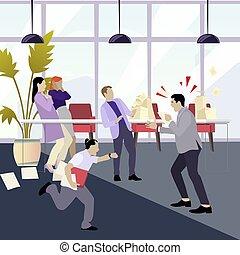 shouting, homem, zangado, saliência, stressfull, employees.