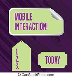 showcasing, adesivo, interação, mostrando, usuários, cor negócio, foto, adesivo, computadores, escrita, próprio, móvel, mão, entre, conceitual, canto, interaction., etiqueta, borda, tag.