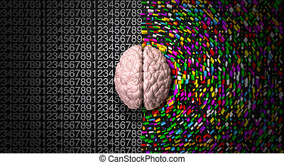side., direita, coloridos, mente, disperso, estruturado, lógico, criativo, analítico, cérebro, descrevendo, esquerda, lado, típico